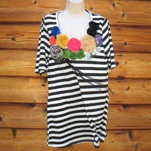 Black White Striped Stretch Top